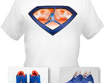 Air Jordan 5 faible Knicks blanc T Shirt Superman fait de Style baskets Match