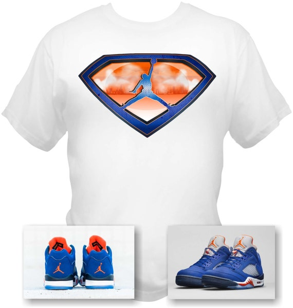 Air Jordan 5 Low Knicks White T-Shirt Superman Style Made to Match sneakers