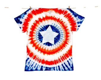 Captain America, cotton T-shirt with hand-painted central shield.