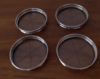 Sterling Silver Coasters // Vintage Barware // Madmen era // MCM coasters //
