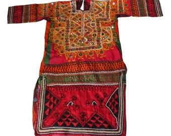 Indian Vintage Banjara Gypsy Dress,Tribal Gypsy Banjara Women Dress,Vintage Mirror Work Sindh Lady Top,Bohemian Hand Embroidered Top