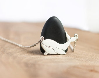 Sterling Silver Whale Pendant on a Sterling Silver Chain - Sterling silver Whale Necklace - Sterling Silver Whale Pendant