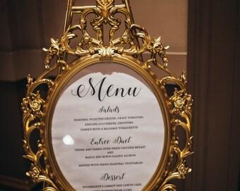 Wedding Menu for Large Frame for Display Table