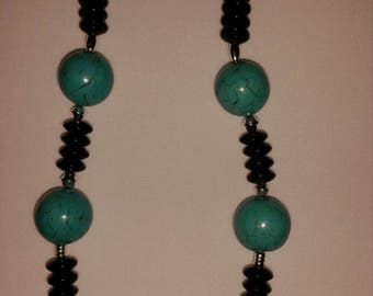 Large Turquoise beaded necklace