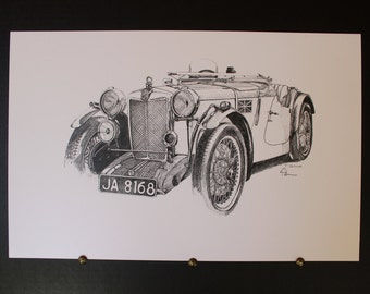 Pen and Ink MG Car print