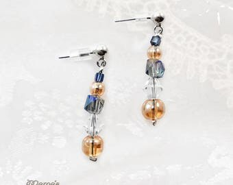 "Crystal Peach and Blue Swarovski Earrings, 1"", Transparent, Blue, Purple, Sparkly, Posts, Studs, Glittery, Wedding, Gift, Bride, Ocean, Sea"