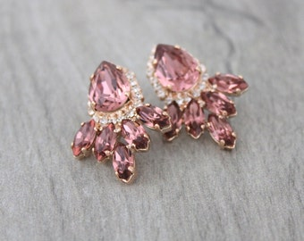 Rose Gold earrings, Bridal earrings, Wedding jewelry, Blush crystal earrings, Crystal stud earrings, Swarovski earrings, Bridal jewelry