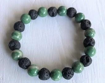 jade and lava rock beaded stretchy bracelet