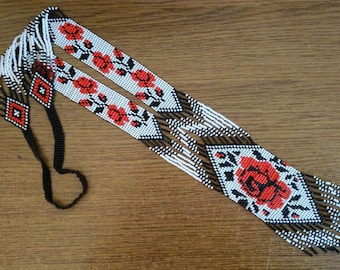 Gerdan with red rose, Ethnic necklace,Ukrainian Gerdan, Beaded Ukrainian necklace, Seed bead pendant,Flowers ukrainian gerdan