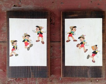 Pinocchio Peace by Piece Reclaimed Wood Children's Book Illustration Pinocchio Wall Art, Vintage Picture Frame
