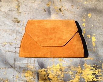 Vintage Burnt Orange Clutch Purse | Vintage Orange Clutch Purse | Suede Clutch | Suede Purse | Vintage Orange Purse | 70s Purse | 70s Clutch