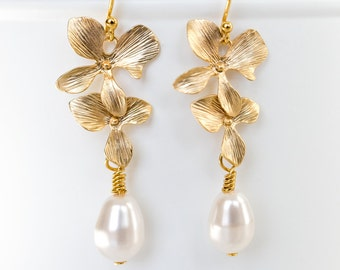 Gold Orchids and Swarovski Pearls Dangle Earrings. Bridal Earrings. Bridesmaid Gifts. Bridal Jewelry. Valentine's Day Gift For Her