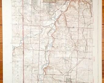 Antique Kansas City Missouri 1939 Us Geological Survey Topographic Map Washington Grandview