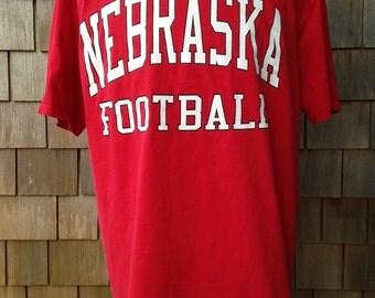 Vintage 90s NEBRASKA FOOTBALL T Shirt - XL - University of Nebraska Corn Huskers