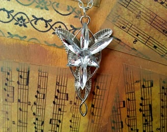 Arwen's Evenstar Lord of the Rings inspired Metal Crsytal Necklace