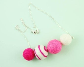 Woolie Necklace | Girl Bead Necklace | Chunky Felt Necklace | Defuser Necklace | Pink Necklace for Girls | Cute Jewelry Gift for Girls