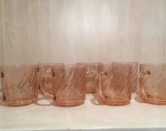 Vintage Pink Swirl Rosaline Glass Mugs by Arcoroc France (set of 7)