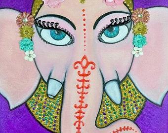 Ganesh Big Eye Art Whimsical Mixed Media Three Dimensional Art 11x14 Canvas