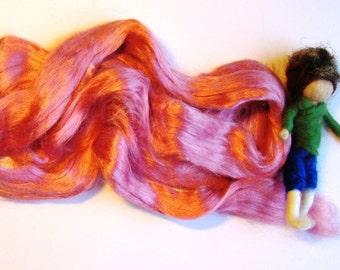 spinning silk, pink felting silk, wet felt silk, nuno scarf silk, needle felt silk kit, pink tussah silk, waldorf silk tops, jade shen silk