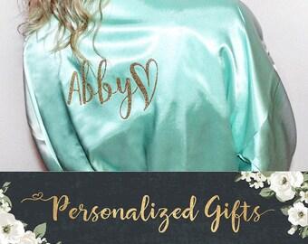 Bridesmaid Robes, Bride Robe, Bridal Robes, Silk Satin Monogrammed Robes, Personalized Wedding Gift, Glitter Print Robe, Getting Ready Robe