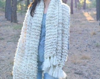 Sedona Serenity Shawl Pattern, Easy Knit Shawl Pattern, Blanket Scarf Pattern, Beginner Knitting Pattern, Simple Shawl, White Shawl, Cream