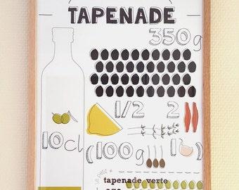 """A3 design poster - Graphic recipe """"Tapenade"""""""
