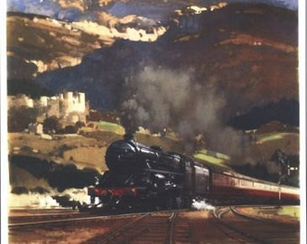 Vintage British Rail By Train To Wales Railway Poster A3/A2/A1 Print