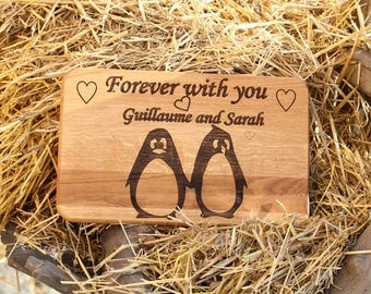 Personalized cutting board Wedding gift for|couple Mom gift Family gift Birthday gift for|her Cheese board Funny Penguin Love you forever