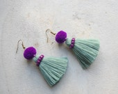 Light Grey Tribal Tassel Earrings with Purple Beads and Pom Poms