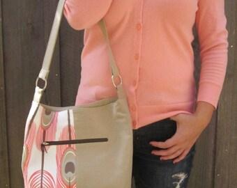 Bucket Hobo Bag  Slouchy Shoulder Bag Feather