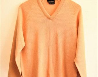 SALE Vintage jumper 1980s coral pink orange v neck Size 14 Large