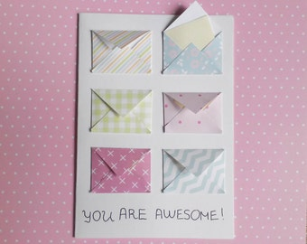 handmade card awesome, You are awesome, Awesome birthday card, tiny envelopes card, blank notes, funny celebration card, mini envelopes card