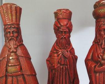 Fabulous 1970s Plaster Chalkware Magi Wise Men Candlesticks