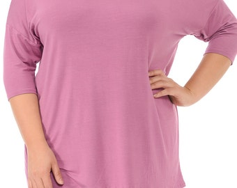 Solid Relaxed Tunic Plus Mauve