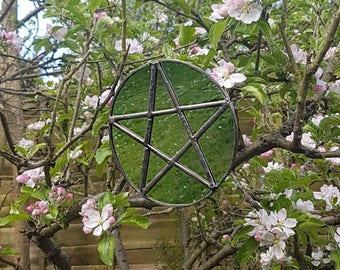 Handmade Recycled Antique Glass Pentacle/Pentagram Indoor/Outdoor Mirror (Copper foil)
