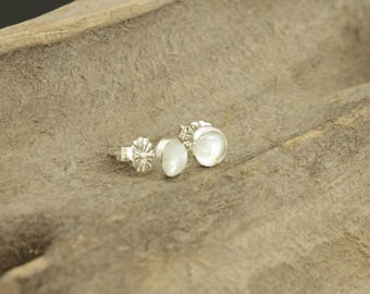 Rainbow Moonstone 5mm Stud Earrings with Sterling Silver Posts