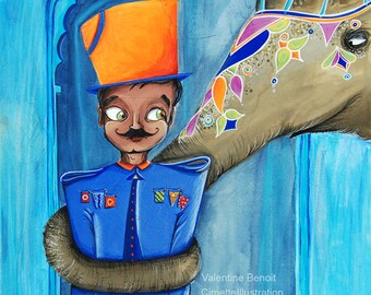 Original painting of an elephant with its trunk an Indian dressed in blue, the elephant is disguised painting, gouache, watercolor
