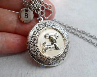 I Love My Dachshund Necklace w-Paw Charm & Letter Charm of Your Choice Dog Lover Gift, Dachsund Lover Gift, Dachsunds Rock, Dachsund Locket