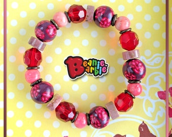 Rosy Flowers Elastic polymer clay, crystal and rhodonite Bracelet