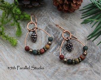 Red Creek Jasper Pinecone Earrings, Copper Earrings, Rustic Earrings, Nature Inspired Jewelry, Pinecone Earrings, Copper Jewelry, Jasper
