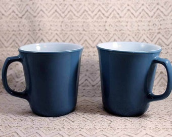 Pyrex Coffee Mugs, Vintage Coffee Mugs, Set of 2 Blue Pyrex Coffee Cups