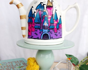 Magic castle ceramic teapot decor