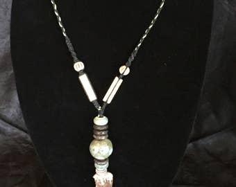 Antler Tip Pendant Necklace Natural Hemp Macrame Jewelry