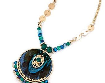 Turquoise Pendant & Gold Necklace NK4011j