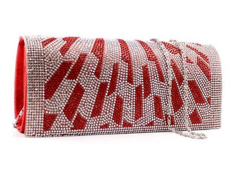 Red and Silver Art Deco Inspired Clutch Bag BAG20