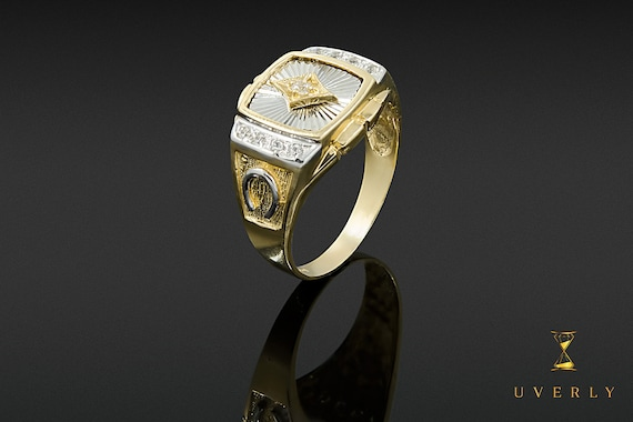 14k Solid Yellow Gold Men's Rolex Design Solitaire Luck Ring Uverly Jewelry