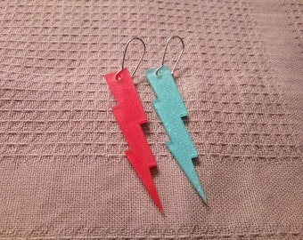 Glitter, plexi acrylic lightning bolt earrings (red, blue, jewelry, david bowie, ziggy stardust)