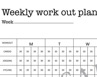 Weekly Work Out Plan, Fitness Plan, A3, A4, Letter, Printable