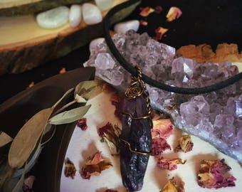 Raw Amethyst Goddess Necklace / Vintage Bronze Wire / Meditative Spiritual Crystal / Raw Amethyst
