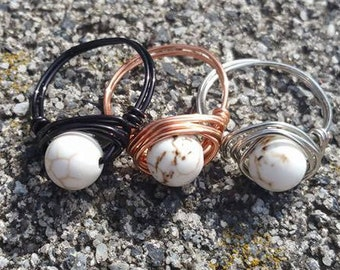 White Marble Wire Wrap Ring